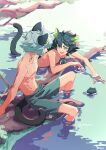 2boys animal_ears black_hair black_swimsuit black_tail branch cat_ears cat_tail green_eyes highres long_hair luoxiaohei male_swimwear multiple_boys multiple_persona open_mouth partially_submerged ripples shirtless short_hair smile soaking_feet suncle swim_trunks swimsuit tail the_legend_of_luo_xiaohei twitter_username white_hair