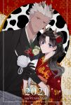 1boy 1girl 2021 alternate_costume alternate_hairstyle animal_ears archer_(fate) bangs black_gloves black_kimono blue_eyes brown_eyes closed_mouth commentary_request cow_horns dark-skinned_male dark_skin fate/stay_night fate_(series) floral_print flower gloves grey_hair hair_flower hair_ornament happy_new_year height_difference highres horns japanese_clothes kemonomimi_mode kimono long_hair multicolored multicolored_background multicolored_hair new_year pale_skin parted_bangs ponytail red_flower red_kimono shimatori_(sanyyyy) short_hair smile tohsaka_rin two-tone_hair