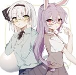 2girls :o :t alternate_costume animal_ears bangs bespectacled black_hairband black_neckwear black_ribbon blue_skirt blush bob_cut breasts closed_mouth commentary_request eyebrows_visible_through_hair from_side glasses green_eyes hair_between_eyes hair_ribbon hairband hands_on_own_cheeks hands_on_own_face hands_up hitodama konpaku_youmu konpaku_youmu_(ghost) long_hair long_sleeves looking_at_viewer medium_breasts multiple_girls necktie open_mouth pleated_skirt pout purple_hair purple_skirt purple_vest rabbit_ears red_eyes red_neckwear reisen_udongein_inaba ribbon semi-rimless_eyewear short_hair short_sleeves silver_hair simple_background skirt sorani_(kaeru0768) touhou upper_body v-shaped_eyebrows very_long_hair vest white_background wing_collar