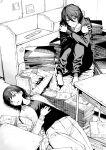 2girls book desk fujino_(look_back) highres ice_reizou kyomoto_(look_back) look_back looking_at_viewer lying monochrome multiple_girls on_back self_hug short_hair sitting table