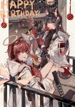 2girls absurdres animal_ear_fluff animal_ears apple_da-ze arknights bangs bare_legs box cardboard_box colored_inner_hair detached_wings eating english_text exusiai_(arknights) exusiai_(city_rider)_(arknights) eyebrows_visible_through_hair fireworks food gloves hair_ornament halo happy_birthday headphones highres holding holding_food holding_party_popper hood hood_down hooded_jacket jacket long_hair long_sleeves looking_at_viewer moon multicolored_hair multiple_girls official_alternate_costume party_popper railing red_gloves shirt texas_(arknights) texas_(winter_messenger)_(arknights) tongue tongue_out vertical-striped_neckwear white_gloves white_jacket wings wolf_ears yellow_eyes