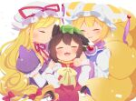 3girls :3 :d animal_ears bangs blonde_hair blush bow brown_hair cat_ears cat_tail chen choker closed_eyes closed_mouth commentary_request dress elbow_gloves eyebrows_visible_through_hair fang fox_ears fox_tail frills gloves gold_trim green_headwear hair_bow hair_ribbon hat hat_ribbon highres ibaraki_natou long_hair long_sleeves mob_cap multiple_girls multiple_tails nekomata no_lineart open_mouth parted_lips pillow_hat puffy_short_sleeves puffy_sleeves purple_dress red_bow red_choker red_dress red_ribbon ribbon ribbon_choker short_hair short_sleeves signature simple_background smile tabard tail touhou tress_ribbon two_tails upper_body very_long_hair white_background white_dress white_headwear wide_sleeves yakumo_ran yakumo_yukari yellow_bow yellow_neckwear
