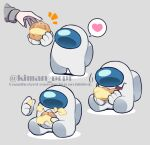 1other among_us bangs commentary_request cream eating food food_on_face grey_background heart holding impostor_(among_us) kiman notice_lines original sitting smile space_helmet spacesuit spoken_heart standing they_(kiman) watermark white_(among_us)