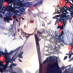 1girl animal_ear_fluff animal_ears bangs branch flower hand_up highres inubashiri_momiji japanese_clothes kimono looking_at_viewer pom_pom_(clothes) red_eyes shi_chimi short_hair sleeves_past_fingers sleeves_past_wrists touhou upper_body white_hair white_kimono wide_sleeves wolf_ears