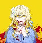1girl blonde_hair blood blood_on_face blood_splatter bloody_clothes bloody_hands blue_dress commentary_request dress earrings eyebrows_visible_through_hair feather_earrings feathers flower frilled_shirt_collar frilled_sleeves frills genshin_impact hair_flower hair_ornament highres jewelry korean_commentary lumine_(genshin_impact) misusgalu open_mouth sidelocks simple_background single_earring smile solo white_flower yellow_background yellow_eyes