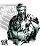 1boy beard berezovich_kryuger_(girls'_frontline) buttons copyright_name crossed_arms double-breasted facial_hair fur-trimmed_jacket fur_trim girls'_frontline grifon_&_kryuger handi highres jacket jacket_on_shoulders logo male_focus military military_uniform monochrome necktie parody scar scar_on_cheek scar_on_face shinkawa_youji_(style) short_hair solo style_parody uniform upper_body white_background