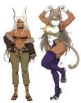 2girls abs airisubaka animal_ear_fluff animal_ears armpits artist_name bare_arms bare_shoulders breasts cat_ears cat_girl cat_tail collarbone commentary cosplay costume_switch dark-skinned_female dark_skin eyepatch eyes_visible_through_hair full_body fur_trim ghislaine_dedoldia ghislaine_dedoldia_(cosplay) gloves grey_hair highres large_breasts leotard long_hair looking_at_viewer mirko mirko_(cosplay) multiple_girls muscular muscular_female mushoku_tensei navel rabbit_ears red_eyes signature simple_background standing standing_on_one_leg symbol_commentary tail tail_ornament tail_ring trait_connection very_long_hair white_background white_gloves white_hair
