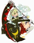 1girl absurdres bangs blonde_hair closed_mouth crescent daruma_owl gloves green_eyes green_neckwear highres holding holding_weapon long_hair long_sleeves maka_albarn necktie plaid plaid_skirt red_skirt scythe signature sitting skirt solo soul_eater sparkle star_(symbol) striped striped_neckwear twintails weapon white_gloves