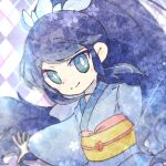 1girl aqua_eyes argyle argyle_background arm_up bangs blue_hair blue_kimono bright_pupils closed_mouth commentary_request crystal dutch_angle eyebrows_visible_through_hair flat_chest fubukihime hair_ornament happy japanese_clothes kimono long_hair long_sleeves looking_at_viewer obi outstretched_arm ponytail ronen sash sidelocks smile solo swept_bangs tied_hair upper_body very_long_hair white_pupils wide_sleeves youkai_watch