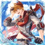 1boy absurdres artist_request bangs birthday black_gloves blue_eyes clouds earrings english_commentary genshin_impact gloves hair_between_eyes hand_on_own_head highres holding holding_weapon jacket jewelry logo male_focus mask mask_on_head navel official_art one_eye_closed open_mouth orange_hair pants red_scarf scarf single_earring sky solo tartaglia_(genshin_impact) vision_(genshin_impact) water weapon wet