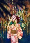 1girl black_hair brown_sash covering_mouth fox_mask hands_up holding_tanzaku japanese_clothes kimono leaf mask monaka_(siromona) obi one_eye_covered original plant print_kimono sash short_hair solo tanabata tanzaku upper_body yukata