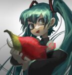 1girl animal black_sleeves detached_sleeves english_commentary eyebrows_visible_through_hair fish green_eyes green_hair hair_ornament hatsune_miku highres holding holding_animal holding_fish long_hair open_mouth salmon_(fish) shoulder_tattoo smile solo tattoo topdylan twintails upper_body very_long_hair vocaloid white_background