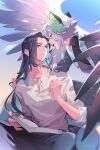 2boys animal_ears black_hair black_wings book cat_ears feathered_wings glasses highres holding holding_book holding_eyewear holding_pen long_hair long_sleeves luoxiaohei mouth_hold multiple_boys open_book pen profile shirt short_hair suncle the_legend_of_luo_xiaohei twitter_username very_long_hair white_hair white_shirt wings wuxian_(the_legend_of_luoxiaohei)