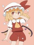 1girl :/ adapted_costume bangs blonde_hair closed_mouth collar cowboy_shot crystal eyebrows_visible_through_hair flandre_scarlet flower hair_between_eyes hand_up hat hat_ribbon highres iroha-kuro light_blush looking_to_the_side medium_hair mob_cap multicolored multicolored_wings one_side_up pink_background ponytail puffy_short_sleeves puffy_sleeves red_eyes red_ribbon red_shirt red_shorts ribbon shirt short_sleeves shorts simple_background solo standing touhou white_flower white_headwear white_sleeves wings yellow_neckwear