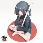 1girl barefoot between_fingers bike_shorts black_hair black_jacket black_shorts breasts commentary_request full_body grey_background grey_eyes hair_over_one_eye hand_up highres holding jacket katana kuro_kosyou long_sleeves looking_at_viewer one_side_up original parted_lips sheath sheathed short_shorts shorts sitting small_breasts solo sword weapon