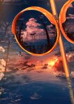 abisswalker8 absurdres blue_sky bug butterfly clouds commentary highres insect mirror no_humans original plant power_lines reflection ripples scenery sky star_(sky) starry_sky sun sunset torii traffic_mirror tree tree_branch utility_pole water