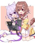 +++ 2girls :d animal_ears blush brown_hair cat_ears cat_girl cat_tail commentary dog_ears dog_girl dog_tail extra_ears fang handheld_game_console hands_on_another's_shoulders holding holding_handheld_game_console hololive inugami_korone multiple_girls musical_note nekomata_okayu nintendo_switch open_mouth playing_games purple_hair rabiiandrain skin_fang smile spoken_musical_note tail virtual_youtuber