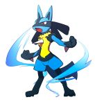 commentary_request energy fang full_body furry gen_4_pokemon grey_background highres lucario morio_(poke_orio) open_mouth pokemon pokemon_(creature) red_eyes simple_background solo spikes standing toes tongue yellow_fur