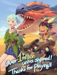 1boy 1girl absurdres arm_guards armlet armor black_hair bridal_gauntlets capcom ena_(monster_hunter) english_commentary english_text fang_necklace fangs green_hair happy highres laughing milestone_celebration monster_hunter_(series) monster_hunter_stories_2 official_art protagonist_(mhs2) rathalos red_eyes rock sandals sitting spiky_hair tan tribal