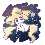 blue_background blue_eyes blush border colored_skin commentary_request dot_mouth floating full_body gen_3_pokemon hand_to_own_mouth hand_up head_tilt jirachi legendary_pokemon light_blush looking_at_viewer mythical_pokemon outline pokemon pokemon_(creature) ronen solo star_(symbol) straight-on white_border white_outline white_skin