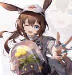 1girl ;d absurdres amiya_(arknights) animal_ear_fluff animal_ears arknights asc11 bag bangs baseball_cap blue_eyes blush brown_hair chinese_commentary chromatic_aberration commentary_request creature dated_commentary ears_through_headwear eyebrows_visible_through_hair floating_hair flower hair_between_eyes hat highres holding jacket jewelry long_hair long_sleeves looking_at_viewer metal_crab_(arknights) multiple_rings one_eye_closed open_clothes open_jacket open_mouth outstretched_arm plant ponytail rabbit_ears ring simple_background smile solo upper_body upper_teeth v very_long_hair white_background white_headwear white_jacket yellow_flower zoom_layer