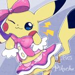 :3 animal_focus blue_eyes blush_stickers bow bowtie character_name closed_mouth clothed_pokemon commentary_request cosplay_pikachu english_text gen_1_pokemon grey_background hair_bow hands_up happy lightning_bolt_symbol looking_at_viewer no_humans number one_eye_closed outline pikachu pikachu_pop_star pink_bow pink_neckwear pink_shirt pink_skirt pokedex_number pokemon pokemon_(creature) ronen shirt showgirl_skirt simple_background skirt smile solo sparkle white_outline
