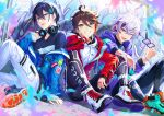 3boys :d ;d absurdres ahoge alternate_costume arm_support barcode black_hair blue_jacket blurry blurry_foreground blush bracelet brown_hair clothes_writing earrings eyebrows_visible_through_hair full_body fuwa_minato glasses graffiti grey_eyes hair_between_eyes hand_on_own_face headphones headphones_around_neck highres holding holding_eyewear hood hoodie huge_filesize jacket jewelry layered_clothing leaning_on_person leggings legwear_under_shorts letta_illust looking_at_viewer male_focus mayuzumi_kai multicolored_hair multiple_boys nijisanji off_shoulder one_eye_closed open_mouth paint_splatter pants pink_hair purple_hair purple_jacket red_jacket redhead ring saegusa_akina shirt shoelaces shoes shorts silver_hair sleeves_past_wrists sleeves_pushed_up smile sneakers spread_legs streaked_hair striped t-shirt torn_clothes torn_legwear untied_shoe violet_eyes virtual_youtuber white_pants zipper