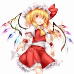 1girl bangs belt blonde_hair blush bow breasts collar crystal eyebrows_visible_through_hair eyes_visible_through_hair flandre_scarlet frills hair_between_eyes hat hat_ribbon highres looking_at_viewer marukyuu_ameya mob_cap multicolored multicolored_wings open_mouth ponytail puffy_short_sleeves puffy_sleeves red_eyes red_nails red_ribbon red_skirt red_vest ribbon shirt short_hair short_sleeves simple_background skirt small_breasts solo standing touhou vest white_background white_belt white_bow white_collar white_headwear white_shirt white_sleeves wings wrist_cuffs yellow_neckwear