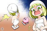 1girl arms_(game) bangs blonde_hair furumoto_yuuya green_eyes headband kirby kirby_(series) min_min_(arms) naked_towel navel open_mouth short_hair simple_background super_smash_bros. teeth towel