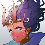 1girl circlet colored_skin defense_of_the_ancients dota_2 earrings eren_(artist) evil_grin evil_smile grey_background grin highres horns jewelry looking_at_viewer pointy_ears portrait purple_hair queen_of_pain_(dota) red_skin simple_background smile solo teeth violet_eyes