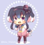 1girl :d anchor_symbol black_hair black_hairband black_headwear black_legwear black_ribbon blue_background blue_footwear blue_sailor_collar blush chain chibi commentary_request fang full_body hairband hat kantai_collection kou_hiyoyo long_hair long_sleeves looking_at_viewer mini_hat multicolored_hair neckerchief open_mouth pantyhose ribbon sailor_collar sailor_shirt shirt shoes short_eyebrows sidelocks sleeves_past_wrists smile solo standing thick_eyebrows tokitsukaze_(kancolle) twitter_username two-tone_hair two_side_up white_hair white_shirt yellow_neckwear
