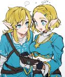 ... 1boy 1girl :d bangs belt black_belt black_gloves blonde_hair blue_eyes blue_shirt blush breasts closed_mouth collarbone commentary_request fingerless_gloves gloves hair_ornament hairclip highres holding link looking_at_another medium_breasts notice_lines open_mouth pointy_ears princess_zelda sheikah_slate shirt short_hair sketch smile speech_bubble spoken_ellipsis suechimu the_legend_of_zelda the_legend_of_zelda:_breath_of_the_wild the_legend_of_zelda:_breath_of_the_wild_2 tunic upper_body white_background