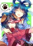 2girls :o ^_^ animal_ears bangs blue_dress blue_hair blue_headwear border breasts bright_pupils cabbie_hat closed_eyes dog_ears dress fang floral_print green_background hagoromo hair_ornament hair_rings hair_stick hand_on_another's_shoulder hat hat_ornament heart jiangshi kaku_seiga kutsuki_kai looking_at_viewer medium_breasts medium_hair miyako_yoshika multiple_girls ofuda open_clothes open_mouth open_vest outside_border outstretched_arms parted_bangs puffy_short_sleeves puffy_sleeves purple_hair red_shirt ringlets shawl shirt short_hair short_sleeves simple_background skin_fang smile spoken_paw star_(symbol) star_hat_ornament talisman touhou upper_body vest violet_eyes white_border white_vest zombie_pose |d