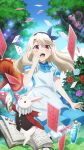 1girl :d absurdres alice_(alice_in_wonderland) alice_(alice_in_wonderland)_(cosplay) alice_in_wonderland apron blonde_hair bloomers book card cheshire_cat_(alice_in_wonderland) cosplay dress drink_me fate/kaleid_liner_prisma_illya fate_(series) flower hair_ribbon highres illyasviel_von_einzbern long_hair looking_at_viewer mushroom official_art open_mouth pantyhose playing_card potion rabbit red_eyes ribbon rose smile tree underwear watch white_legwear white_rabbit_(alice_in_wonderland)