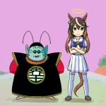 1boy 1girl animal_ears arms_behind_back bow bowtie brown_hair crossed_arms crossover dragon_ball earrings halo horse_ears horse_girl horse_tail horseshoe_ornament jewelry long_hair multicolored_hair nishi_koutarou north_kaiou open_mouth pleated_skirt puffy_short_sleeves puffy_sleeves purple_neckwear purple_shirt school_uniform serafuku shirt short_sleeves skirt smile standing summer_uniform symboli_rudolf_(umamusume) tail thigh-highs tracen_school_uniform umamusume violet_eyes white_hair white_legwear white_skirt