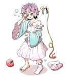 baggy_clothes bags_under_eyes barefoot blue_shirt cable collarbone hand_on_own_face highres holding holding_pillow komeiji_satori peroponesosu. pillow pink_hair pink_skirt shirt short_hair single_sock skirt sleepy slippers socks third_eye touhou waking_up
