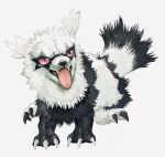 black_fur claws full_body galarian_form galarian_zigzagoon gen_8_pokemon hasuri highres no_humans open_mouth pokemon pokemon_(creature) sharp_teeth simple_background solo teeth tongue tongue_out violet_eyes white_background white_fur
