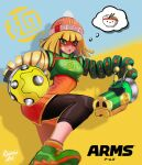 1girl arms_(game) artist_request bangs beanie blonde_hair blunt_bangs breasts chinese_clothes domino_mask dragon_(arms) facepaint food green_eyes hat highres knit_hat leggings legwear_under_shorts looking_at_viewer mask megawatt_(arms) min_min_(arms) nintendo noodles open_mouth short_hair shorts smile solo super_smash_bros.