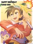 1boy :d aipom backwards_hat bangs baseball_cap border brown_eyes brown_hair character_name commentary_request cyndaquil ethan_(pokemon) fire flame gen_2_pokemon goggles goggles_on_headwear happy_birthday hat highres holding holding_poke_ball jacket kibisakura2 long_sleeves looking_to_the_side male_focus open_mouth orange_jacket outside_border poke_ball poke_ball_(basic) pokemon pokemon_(creature) pokemon_adventures short_hair shorts smile starter_pokemon tongue twitter_username upper_teeth white_border yellow_shorts