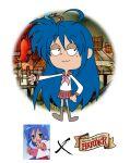 1girl ahoge cartoon_network izumi_konata lucky_star parody source_request thurop_van_orman_(style)