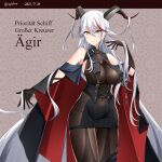 2021 absurdly_long_hair absurdres aegir_(azur_lane) artist_name azur_lane bare_shoulders black_cape black_dress black_gloves bodystocking boots breast_curtains breasts cape character_name covered_navel cross cross_earrings demon_horns dress earrings eyebrows_visible_through_hair gloves hebitsukai-san highres horns iron_cross jewelry knee_boots large_breasts long_hair looking_at_viewer medal microdress multicolored_hair panties redhead revealing_clothes simple_background single_knee_boot skin_tight skindentation sleeves streaked_hair string_panties two-tone_hair underwear very_long_hair white_hair yellow_eyes