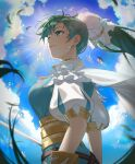 1girl backlighting bangs blue_sky breasts clouds cloudy_sky commentary day earrings feathers fire_emblem fire_emblem:_the_blazing_blade fire_emblem_heroes from_side green_eyes green_hair hair_ornament highres jewelry long_hair looking_away lyn_(fire_emblem) maze_draws medium_breasts outdoors ponytail puffy_sleeves simple_background sky solo striped sunlight tied_hair upper_body vertical_stripes water water_drop