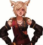 1girl blonde_hair detached_sleeves earrings facial_mark final_fantasy final_fantasy_xiv grin hands_on_hips highres jewelry miqo'te necklace one_eye_closed smile tank_top violet_eyes whisker_markings