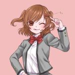 1girl ;q aijou_karen arm_up bangs blush brown_eyes brown_hair closed_mouth collared_shirt crown_hair_ornament dress_shirt eyebrows_visible_through_hair grey_jacket hair_ornament hand_on_hip jacket long_sleeves looking_at_viewer one_eye_closed open_clothes open_jacket pink_background pointing pointing_at_self school_uniform seishou_music_academy_uniform shiratama_(mofutto) shirt shirt_tucked_in short_hair shoujo_kageki_revue_starlight simple_background smile solo sparkle tongue tongue_out two_side_up upper_body white_shirt