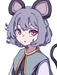 1girl absurdres animal_ears bangs blue_capelet capelet eyebrows_behind_hair grey_hair highres jewelry kame_(kamepan44231) looking_at_viewer mouse_ears mouse_tail nazrin one-hour_drawing_challenge open_mouth pendant red_eyes short_hair simple_background solo tail touhou upper_body white_background