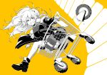1girl absurdres animal_ears breaking breasts fur-trimmed_jacket fur_trim greyscale highres hololive jacket kazuma_muramasa large_breasts lion_ears lion_tail long_hair monochrome riding shishiro_botan shopping_cart single_thighhigh sweat tail thigh-highs trials_(series) trials_rising virtual_youtuber wheel yellow_background