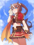 1girl :o absurdres animal_ears auuufox blue_eyes blush bra breasts brown_hair eyebrows_visible_through_hair hand_on_own_face highres horse_ears horse_girl horse_tail navel open_mouth ponytail short_sleeves skirt small_breasts solo tail tokai_teio_(umamusume) umamusume underwear wiping_face