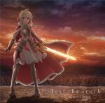 1girl ahoge albino album_cover artoria_pendragon_(all) canyon cosplay cover dusk fate/kaleid_liner_prisma_illya fate_(series) full_body highres holding holding_sword holding_weapon illyasviel_von_einzbern looking_at_viewer mountain official_art orange_sky red_eyes saber saber_(cosplay) sky solo sword twilight weapon white_hair