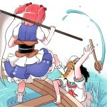 2girls black_hair blue_kimono boat commentary_request covered_face feet_above_head feet_out_of_frame flood from_behind hat highres japanese_clothes kimono multiple_girls murasa_minamitsu onozuka_komachi peroponesosu. puffy_short_sleeves puffy_sleeves redhead sailor_collar sailor_hat sandals scythe short_hair short_sleeves short_twintails socks touhou twintails water watercraft