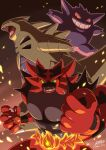 absurdres claws colored_sclera commentary_request dated embers fangs fire furry gen_1_pokemon gen_2_pokemon gen_7_pokemon gengar green_eyes grin highres incineroar irohero looking_at_viewer open_mouth pokemon pokemon_(creature) sharp_teeth signature smile teeth tongue tyranitar yellow_sclera